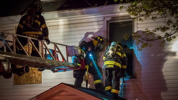 A Moncton firefighter was injured during a fire overnight on Mountain Road.