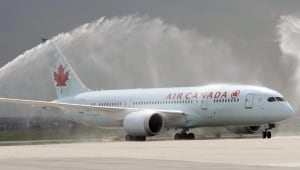 Air Canada's Dreamliner gets water cannon salute