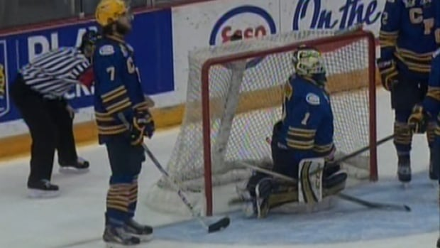 Carleton Place Canadians goaltender Guillaume Therien moments after letting in the winning goal in overtime.