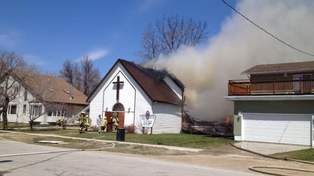 The United Church in Starbuck burned to the ground on Friday.