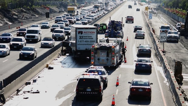 A 33-year-old woman was sent to hospital with serious injuries after a crash between a tractor trailer and a pickup truck on Highway 417 eastbound Tuesday morning.