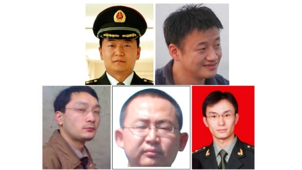 A combination photo shows five Chinese military officers who the U.S. has accused of cyber espionage. From top left: Sun Kailiang, Huang Zhenyu. Bottom row, from left: Wen Xinyu, Wang Dong and Gu Chunhui.