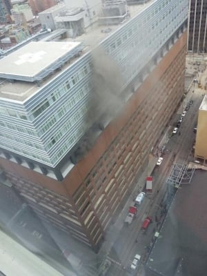 View of smoke coming from St. Michael's Hospital