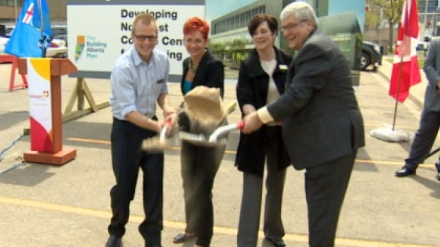 Premier Dave Hancock helped NorQuest officials break ground on the college's new downtown campus Tuesday.