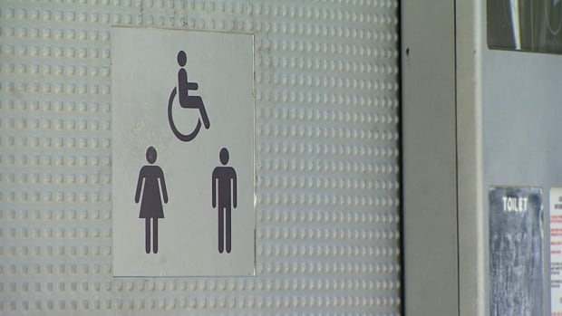 A public washroom near Main Street-Science World SkyTrain station. A Vancouver city councillor says the lack of public washroom facilities in Vancouver neighbourhoods is bad for seniors.