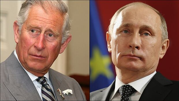 Prince Charles, left, reportedly likened Russian President Vladimir Putin to Adolf Hitler during a private conversation with a woman in Halifax.