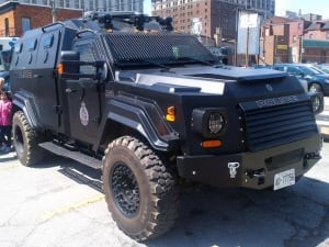 Hamilton police armoured rescue vehicle