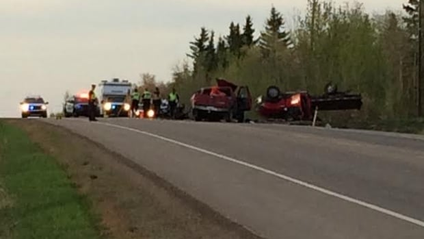 One person was killed and two more were injured in a crash in southeast Edmonton Wednesday evening.