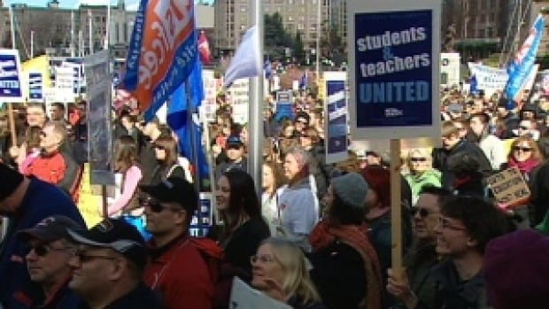 During the last round of failed contract talks in 2012, striking teachers protested at the provincial legislature against back-to-work legislation.