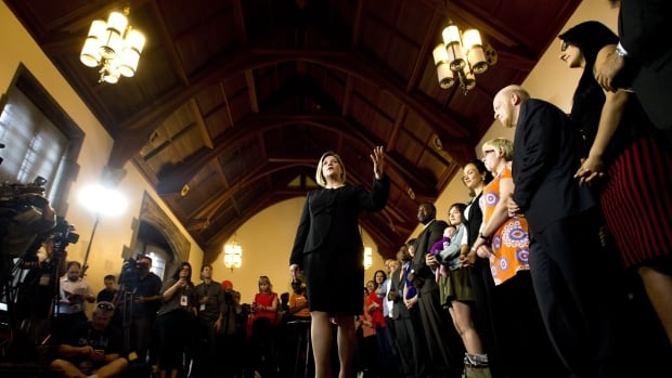 Ontario NDP leader Andrea Horwath delivered her campaign platform Thursday, outlining plans to raise the corporate tax rate, create a caregiver tax credit and restore passenger rail service to Northern Ontario.