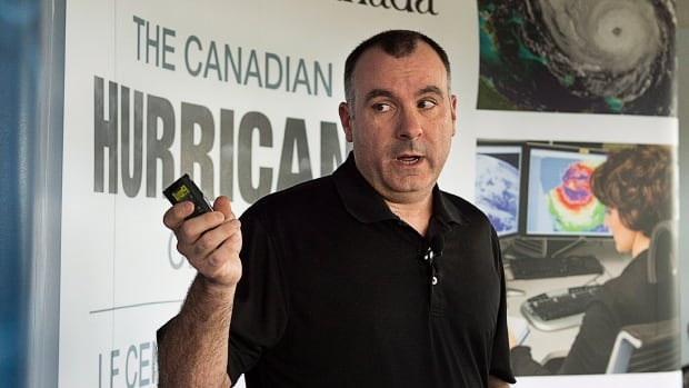 Rob Robichaud, a meteorologist at the Canadian Hurricane Centre, addresses a news conference in Dartmouth, N.S. on Thursday.
