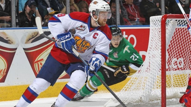 Edmonton wants defenceman Griffin Reinhart, pictured, on the ice against Val-d'Or's Anthony Mantha as much as possible for Friday Memorial Cup semfinal.
