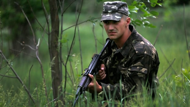 A Ukrainian soldier secures an area in the country's volatile east.