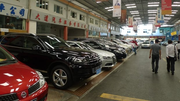 Second-hand cars on sale in China. The WTO has demanded China drop its high tariffs on large U.S.-made cars.