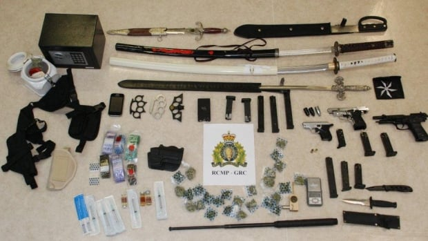 RCMP executed a search warrant at a residence in Fortune and seized guns and other weapons that included samurai swords, throwing stars and brass knuckles. A quantity of marijuana and cocaine was also seized during the search.