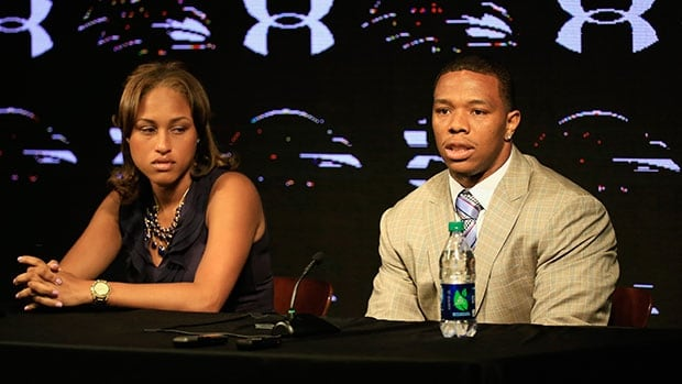 Running back Ray Rice, right, and his wife, Janay Palmer, held a news conference at the Ravens training facility.