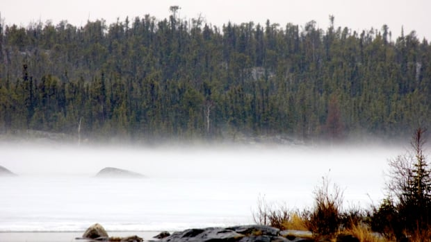 Yellowknife Mayor Mark Heyck tweeted this photo of mist on the ice on Frame Lake after a rainfall earlier this week. David Phillips, a climatologist with Environment Canada, says a cold, wet May in the N.W.T. will eventually give way to a warmer than usual summer.