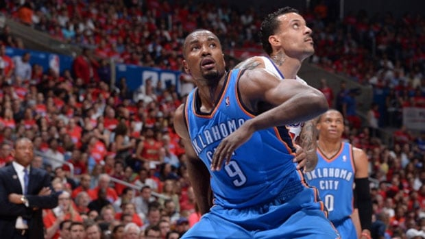 Thunder forward Serge Ibaka (9) was injured in Game 6 against the Los Angeles Clippers, a Western Conference semifinals series-clinching win on May 15.