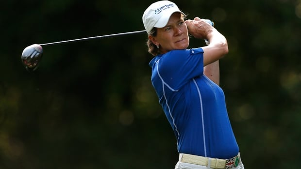 Catriona Matthew uses a wood from the 16th tee box on the Crossings Course at Magnolia Grove in Mobile, Ala., on Friday.
