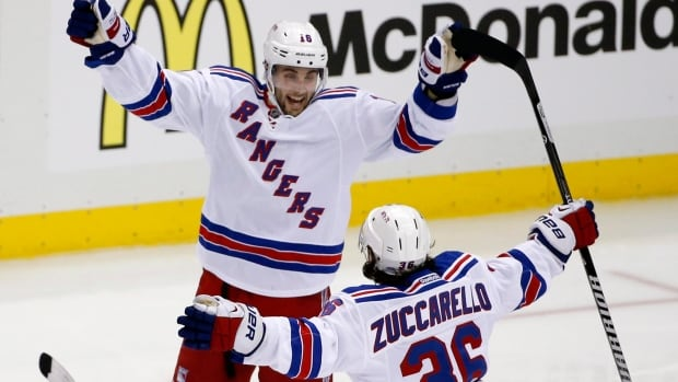 Derick Brassard, seen with teammate Mats Zuccarello, was a key offensive contributor for New York in the first two rounds.