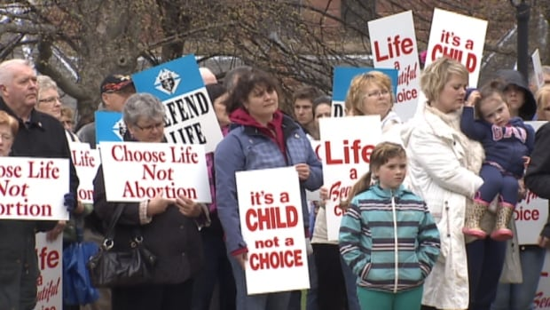 About 400 people demonstrated against abortion in front of Province House Sunday.