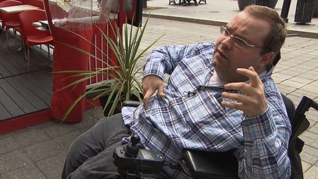 Laurent Morissette, a 30-year-old man who relies on a motorised wheelchair to get around, says many restaurants with accessible terrasses don't have accessible bathrooms.