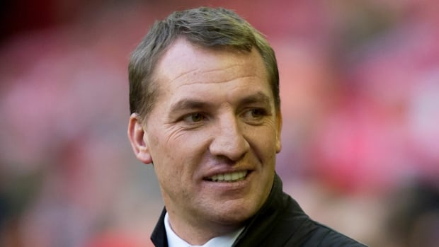 Brendan Rodgers is shown against Swansea City at Anfield Stadium, Liverpool, this past season.