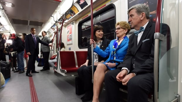 Glen Murray, right, rides the Toronto subway with then-premier Kathleen Wynne, middle, and TTC chair Maria Augimeri in April. Murray, who was transportation minister until the election call, says frequent all-day GO service linking Waterloo Region with Toronto can be in place within five years.