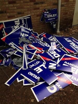 Randall Denley Sign Vandalism Ontario Election