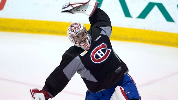Injured Canadiens goalie Carey Price, seen here at a recent practice, returned to the ice in full gear Tuesday morning before his teammates were scheduled to be on the ice in preparation for Game 5 of the NHL Eastern Conference final against the visiting New York Rangers later that night.