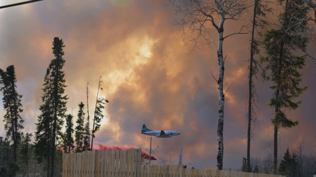 A forest fire burns near Stanley Mission on May 22.