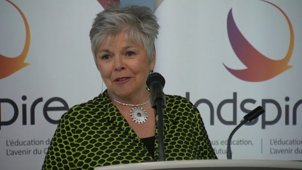 Speaking at Bow Valley College in Calgary, Roberta Jamieson, president of Indspire, announces the $20-million Building Brighter Futures Campaign to support bursaries and scholarships for indigenous post-secondary Canadian students.