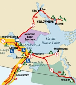 Enterprise, NWT highway map
