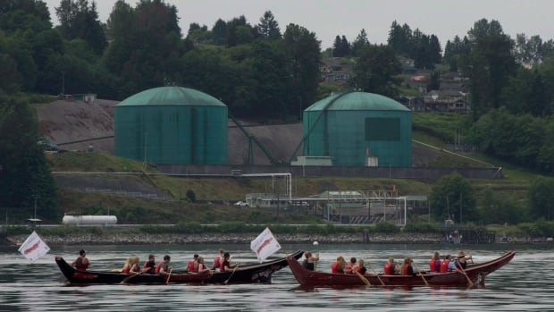 Canoeists paddle canoes past the Kinder Morgan facility in Burrard Inlet in North Vancouver, on May, 22, 2014. There are concerns about the safety of oil storage if Kinder Morgan receives approval to triple the capacity of its pipeline.