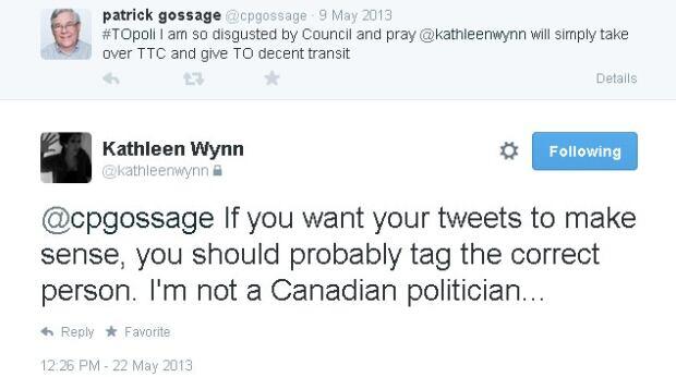 Kathleen Wynn Mistaken Identity First Tweet