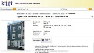 Kijiji ad 73 Long's Hill St. John's CBC