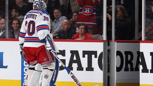 Rangers goalie Henrik Lundqvist came into Game 5 against the Montreal Canadiens with a .931 save percentage in the playoffs. That was reduced to .926 after getting pulled for allowing four goals on 18 shots.