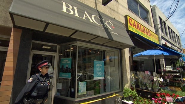 Toronto police were probing an alleged armed robbery at a Black's photography store in the Beach on Thursday.