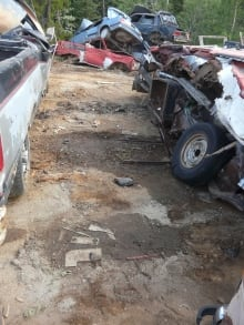 Junk yard next to the Rueck's home
