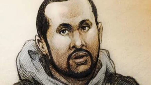 A court sketch depicts Mohamed Hersi, who was convicted of attempting to participate in terrorist activity and providing counsel to a person to participate in a terrorist activity.