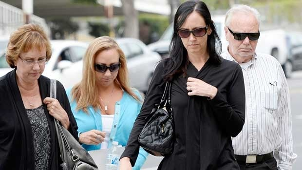 Members of Bryan Stow's family arrive for the start of a civil trial in a lawsuit brought against former Los Angeles Dodgers owner Frank McCourt.