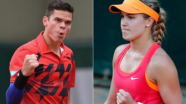 Canadians Milos Raonic, left, and Eugenie Bouchard both advanced to the fourth round of the French Open Friday in Paris.