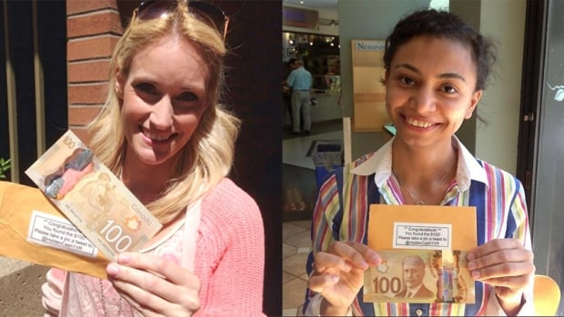 Britanya Hodge and Rina Youssef found hundred-dollar bills as part of an unusual hidden treasure hunt popping up around North America via Twitter.