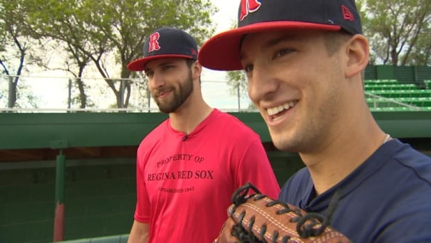 Jesse Baird, on the left, and Tyler Shumpert are both pitchers for the Regina Red Sox.