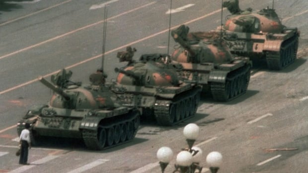 A Chinese man stands alone to block a line of tanks heading east on Beijing's Cangan Blvd. in Tiananmen Square on June 5, 1989. China appears to be blocking Google ahead of the protest's 25th anniversary.
