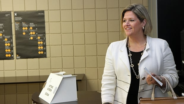 Ontario NDP Leader Andrea Horwath casts here vote at an advance poll Saturday in her home riding of Hamilton Centre.