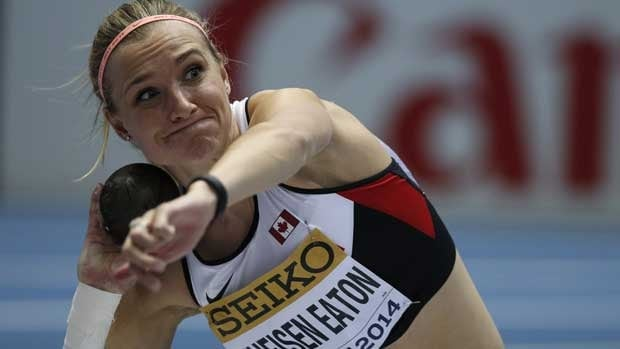 Brianne Theisen-Eaton is shown at a competition in Poland in March.