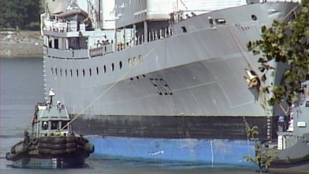 The HMCS Protecteur, damaged in a fire in February while at sea, made it back to B.C. waters on May 31, 2014.