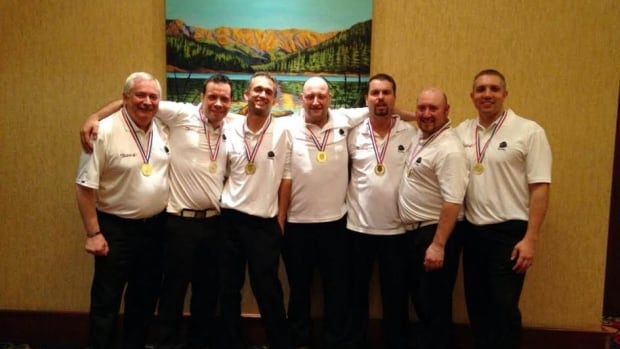 Members of Newfoundland and Labrador's men's team are shown shortly after winning gold at the national 5-pin championships in Calgary on Saturday. (Photo courtesy of Andrea Harris)