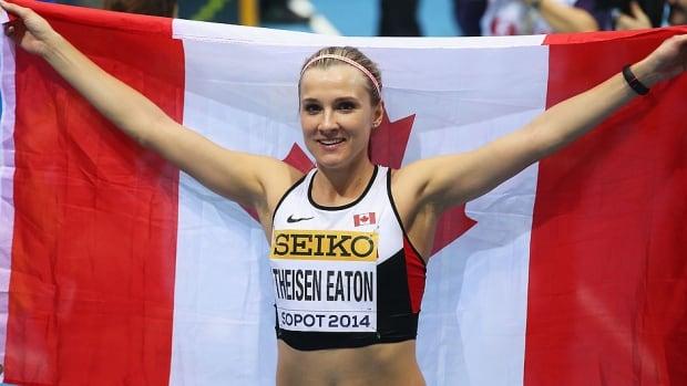 Brianne Theisen-Eaton set a Canadian record at Sunday's IAAF Hypo Meeting in Goetzis, Austria with 6,641 points. Katarina Johnson-Thompson won the women's heptathlon with 6,682.
